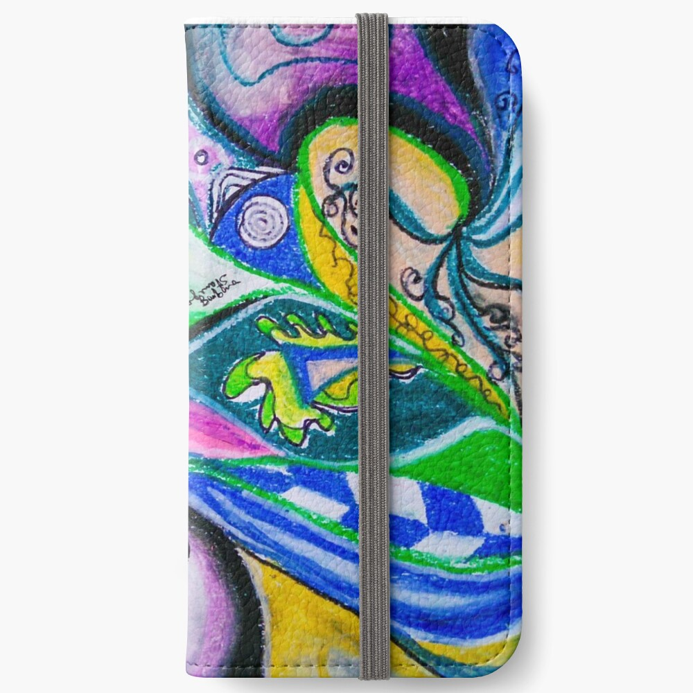 Blue Green Tones Movement Abstract iPhone Wallet