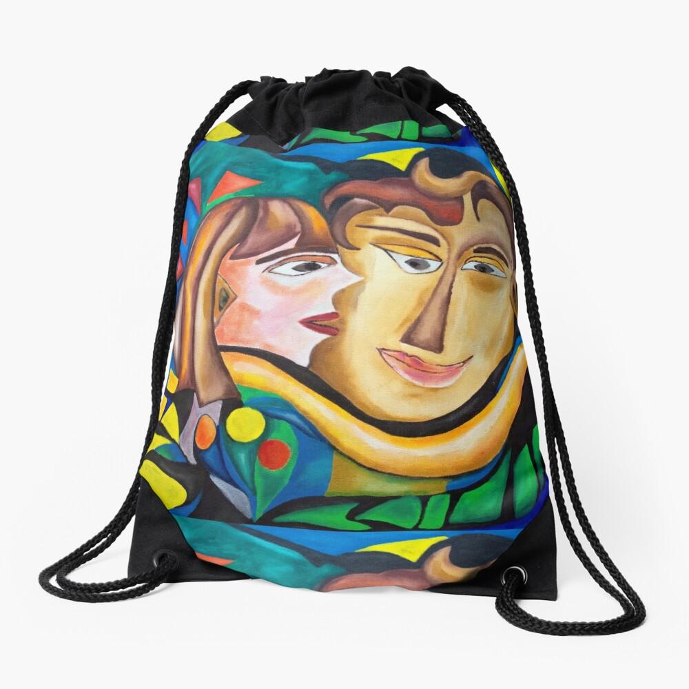 abstract kissing woman Drawstring Bag