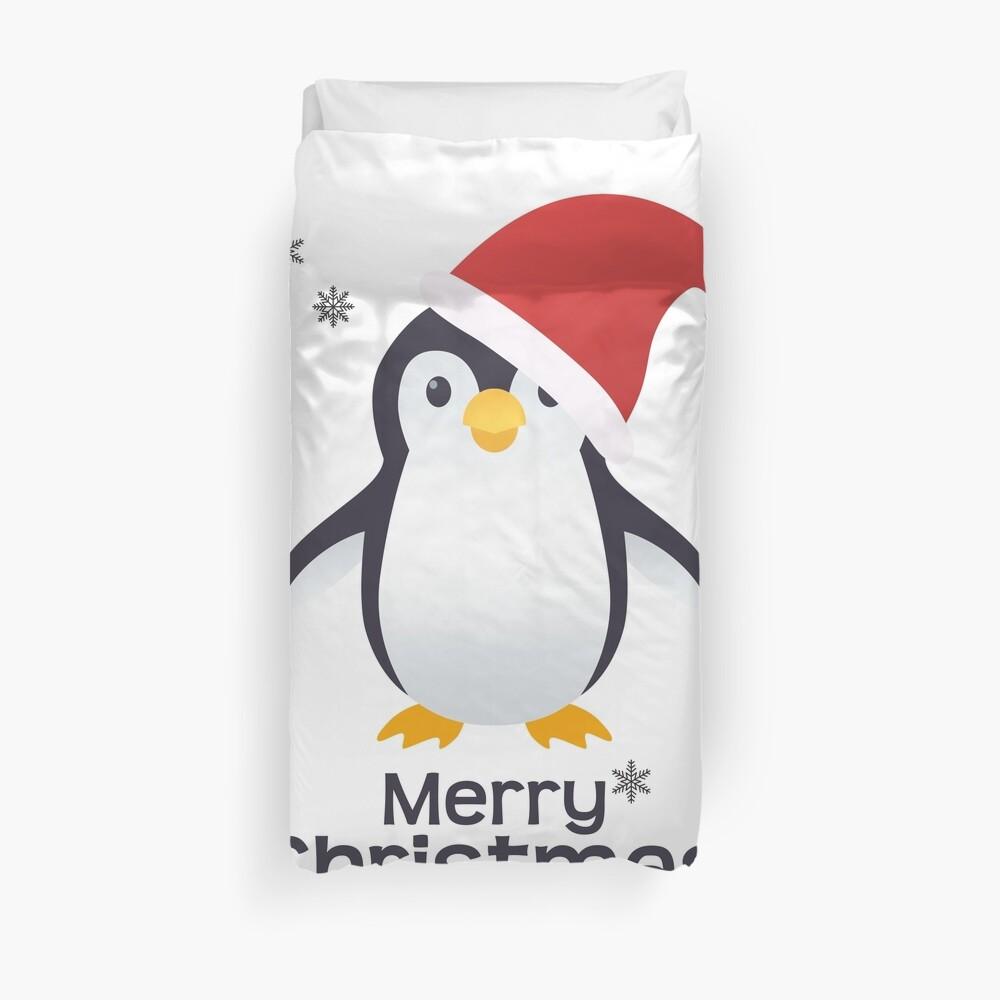 Merry Christmas Penguin Emoji Duvet Cover