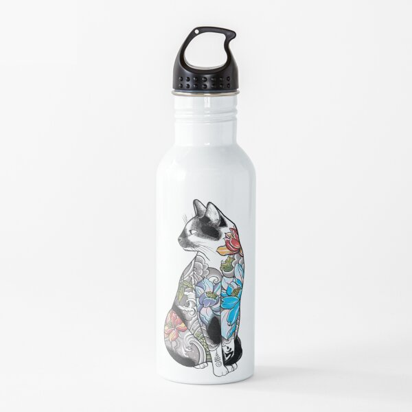 Cat in Lotus Tattoo Water Bottle