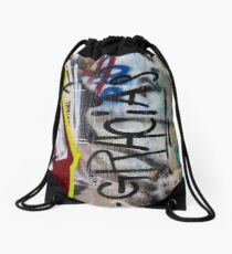 Abstract Graffiti Wall Art Photography - Gracias Drawstring Bag