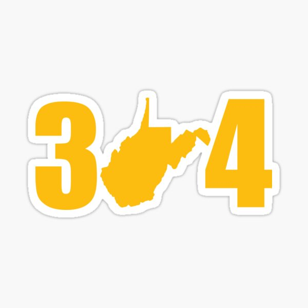West Virginia State Outline 304 Gold Shirts Stickers Sticker
