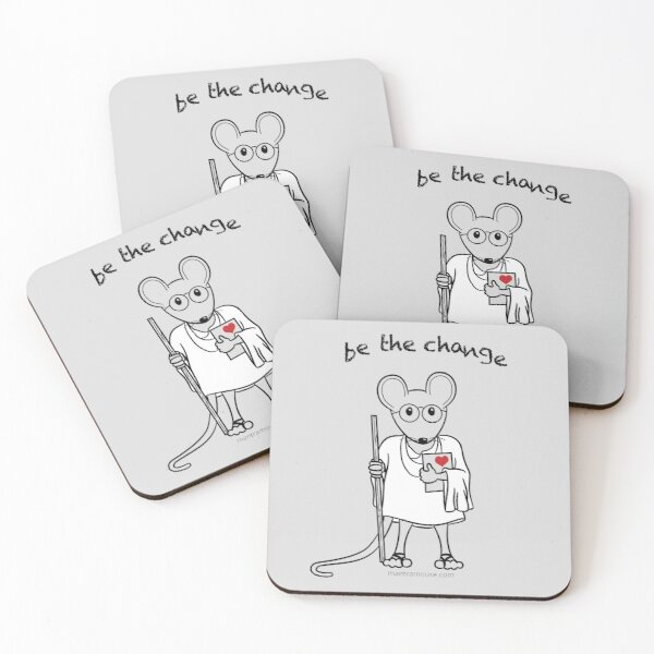 Copy of MantraMouse® Be the Change Cartoon on Gray Background Coasters (Set of 4)