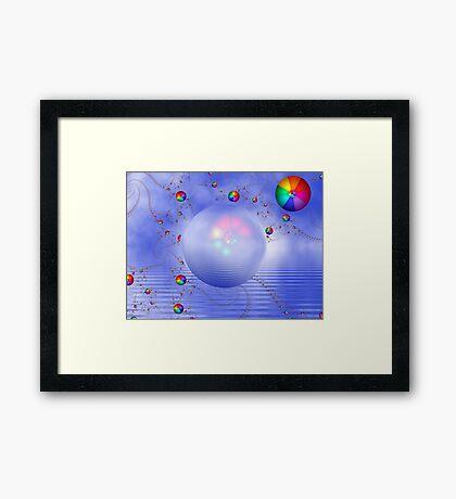 Rainbow Sphere on Blue Lake Framed Print