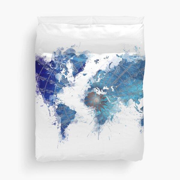 World Map Wind Rose splash Duvet Cover
