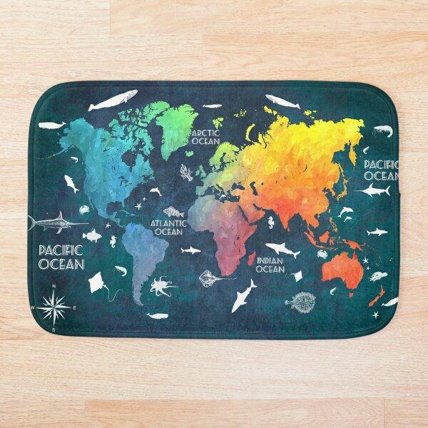 Oceans Life World Map colored Bath Mat