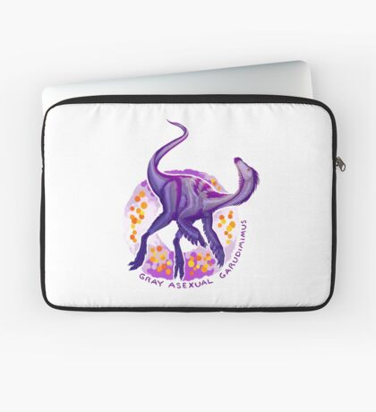 Gray Asexual Garudimimus (with text)  Laptop Sleeve