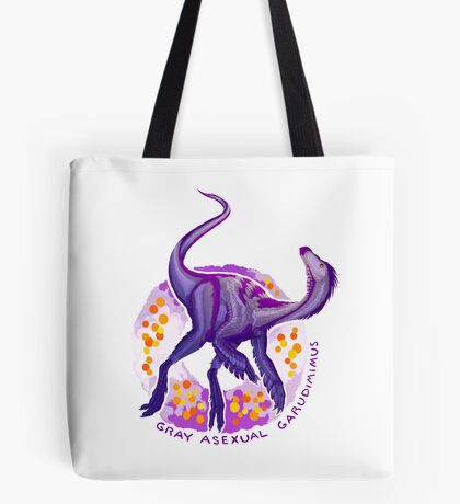 Gray Asexual Garudimimus (with text)  Tote Bag