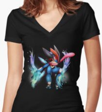 Ash-Greninja Women's Fitted V-Neck T-Shirt