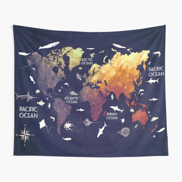 world map 11 Tapestry