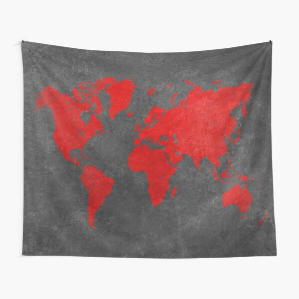 World map black and red Tapestry