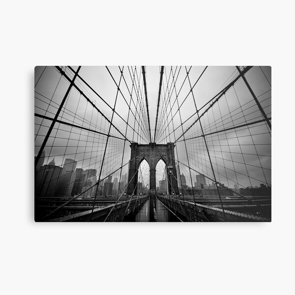 Rainy Brooklyn Bridge Metal Print