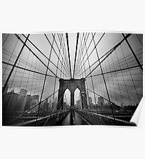 Rainy Brooklyn Bridge Poster