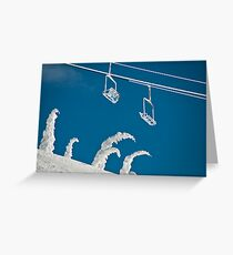 Snow sculptures and frozen chairs Greeting Card