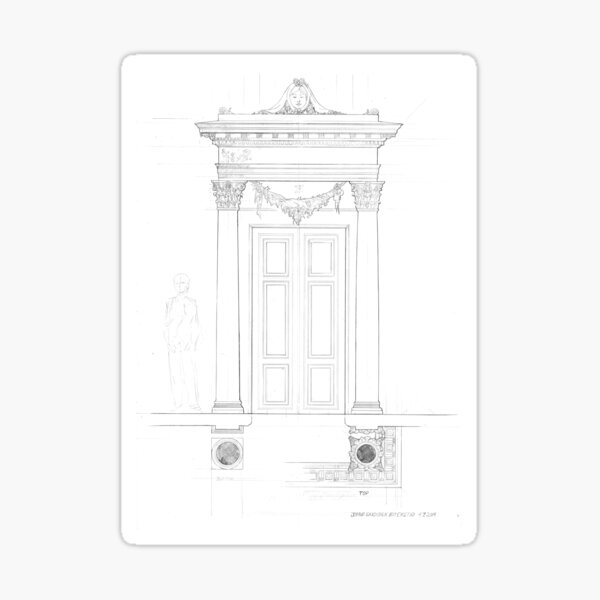 Classical architecture drawing doorway Sticker