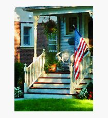 Porch With American Flag Photographic Print