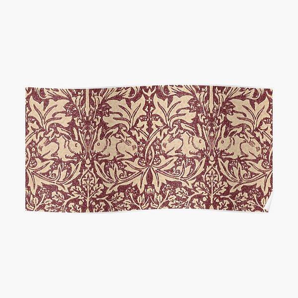 William Morris Brer Rabbit (burgundy) pattern Poster