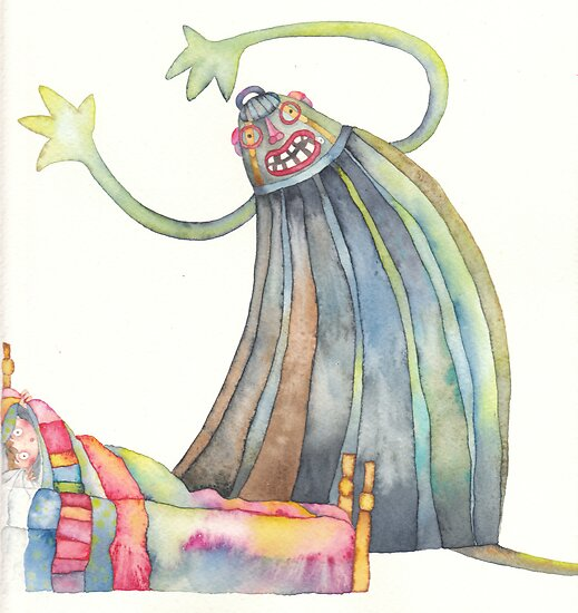 "The monster, illustration of the story ""backpack""  by vimasi"