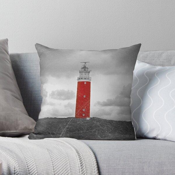 The Eierland Red Lighthouse, Texel, Netherlands Throw Pillow