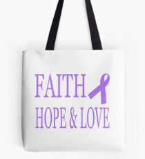 Faith Hope & Love All Cancers Lavender Ribbon  Tote Bag