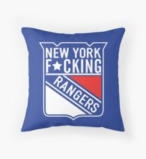 New York F*cking Rangers Logo T-Shirt Throw Pillow
