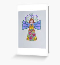 Angel/8 - Young Girl & Sunflowers Greeting Card