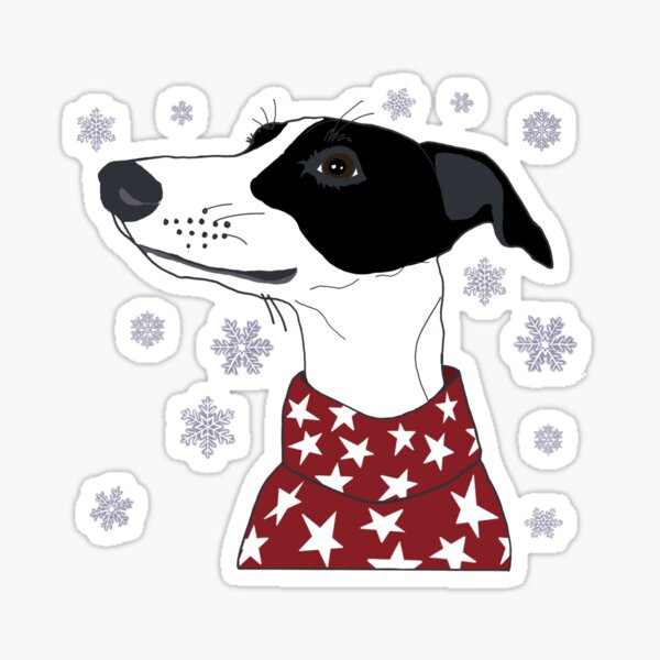 Black and white winter Whippet Sticker