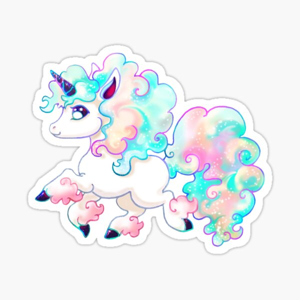 Petit Poney Licorne Sticker fini brillant