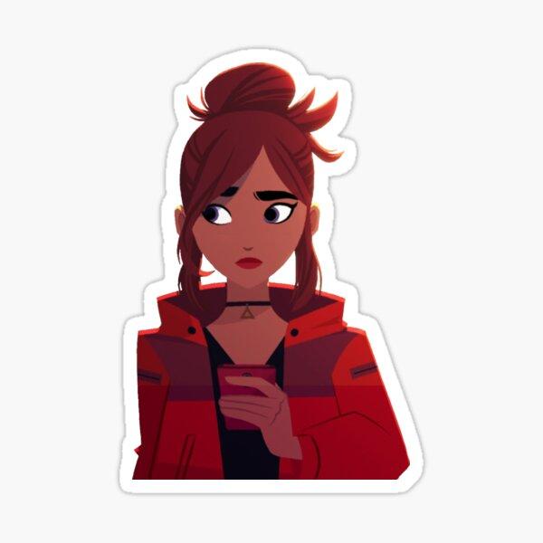 Carmen Sandiego Red Hoodie Texting Sticker