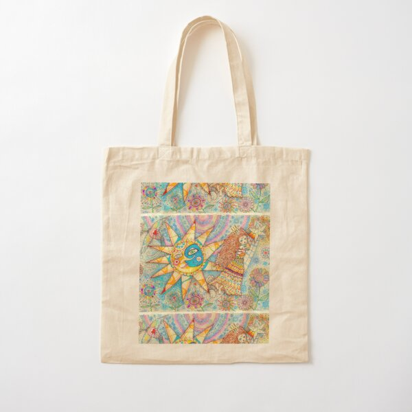 The Lady, The Sun and The Shooting Star Cotton Tote Bag