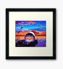 Lensball with sunset long jetty Framed Print