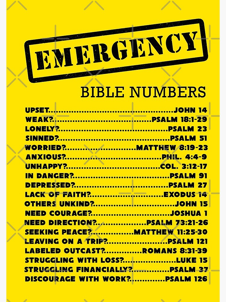 Emergency Bible Numbers by JenielsonDesign