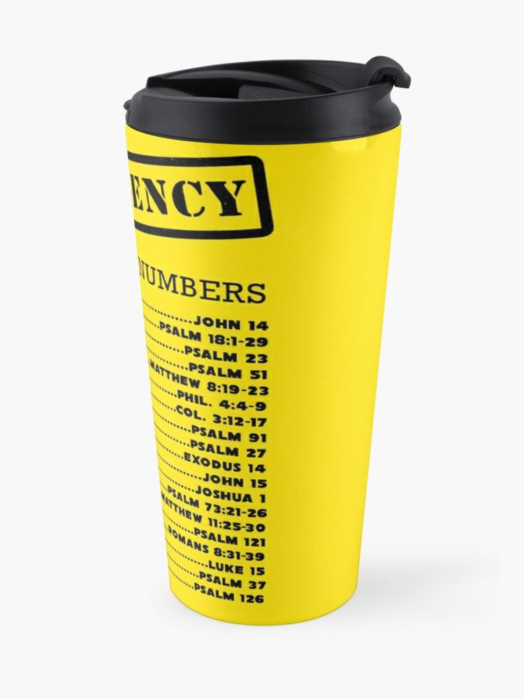 Alternate view of Emergency Bible Numbers Travel Mug
