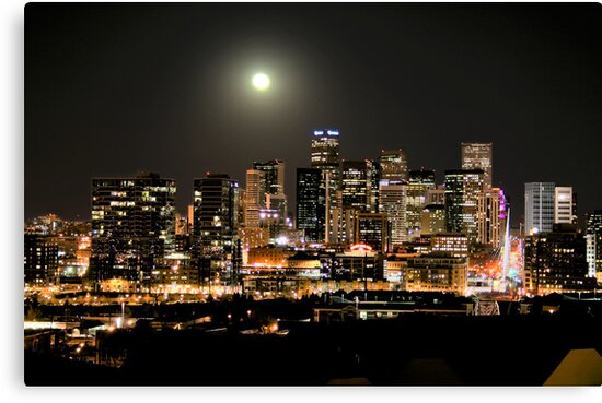 Full Moon over Downtown Denver Skyline at Night HDR by designkase