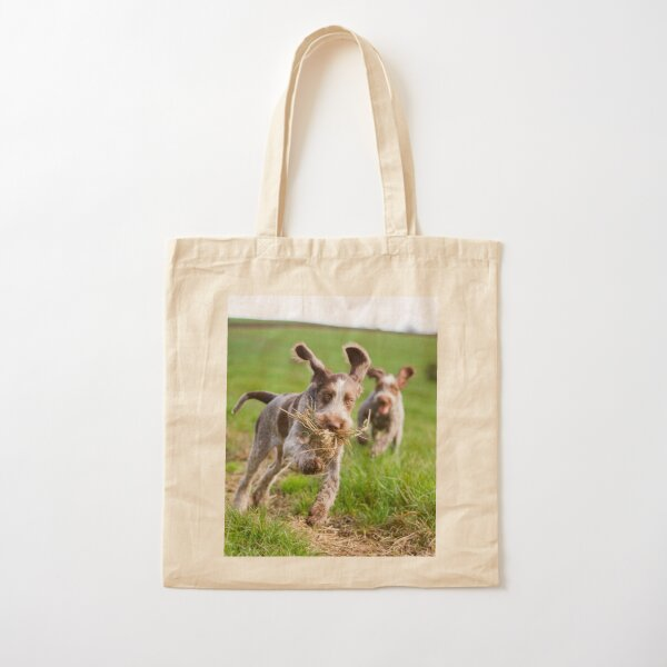 Italian Spinone Puppies Playing Chase Cotton Tote Bag
