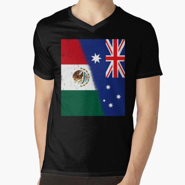 Australia and Mexico Mix, Mexican and Australian Flags, Banderas de Mejico & Australia V-Neck T-Shirt