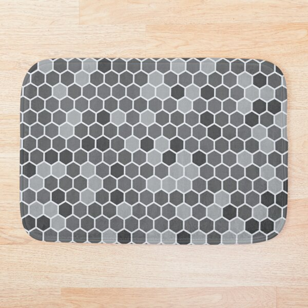 Grey Hexagon Bath Mat