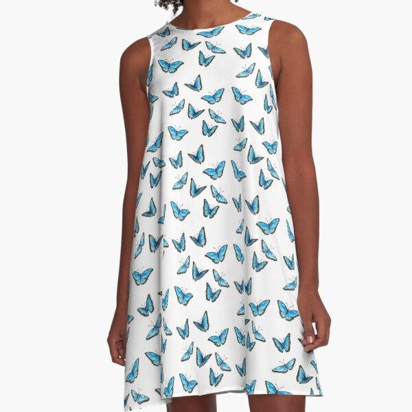 Blaue Schmetterlinge - Morphos A-Linien Kleid
