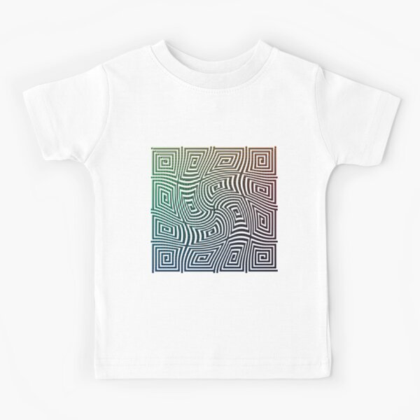 Optical illusion, spirally twisted quadrangular spirals on a quadrangular spiral background. Kids T-Shirt
