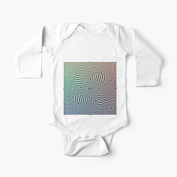 Optical illusion, spirally twisted quadrangular spirals on a quadrangular spiral background. Long Sleeve Baby One-Piece