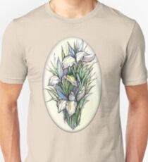 Beautiful iris - Hand draw  ink and pen, Watercolor, on textured paper Unisex T-Shirt