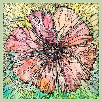 Red Poppy.Hand draw  ink and pen, Watercolor, on textured paper by kanvisstyle