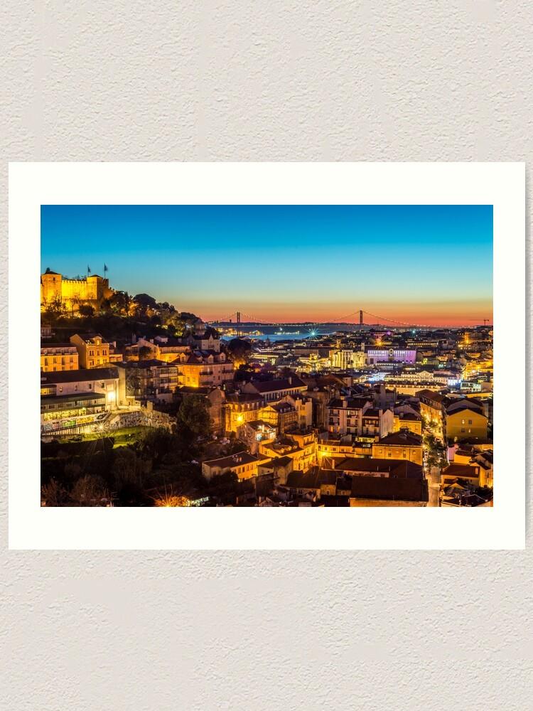 Alternate view of Lisbon Cityscape Skyline at Night Art Print