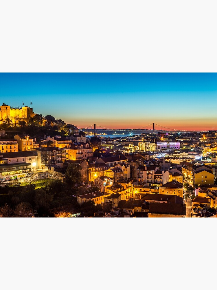 Lisbon Cityscape Skyline at Night by bertbeckers