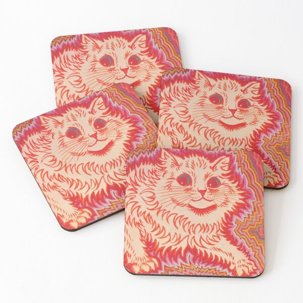 Louis Wain Orange Psychadelic Cat Coasters (Set of 4)