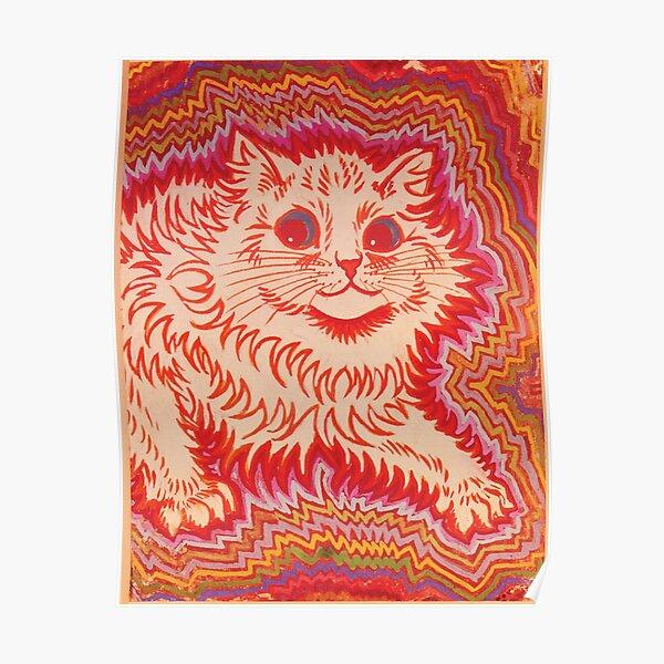Louis Wain Orange Psychadelic Cat Poster