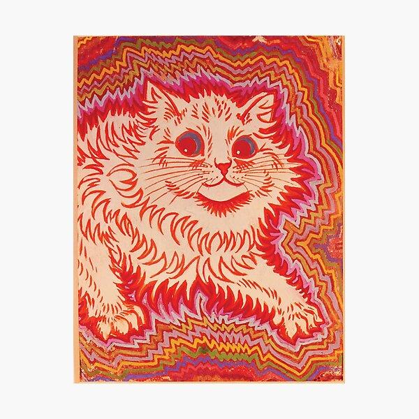 Louis Wain Orange Psychadelic Cat Photographic Print