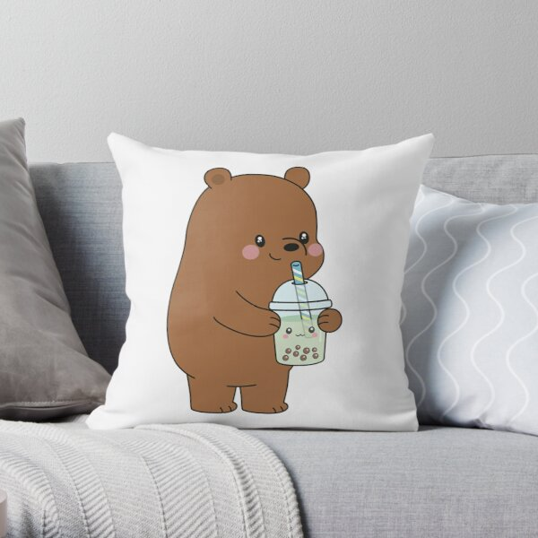 Fun Novelty Black Grizzly Bear Wearing Winter Skull Sweater Throw Pillow Cover