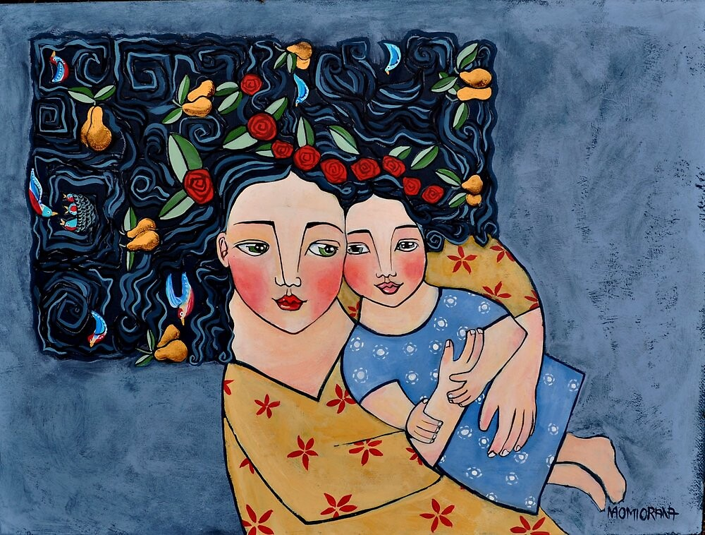 mother and daughter wrapped in love's harvest by Orana