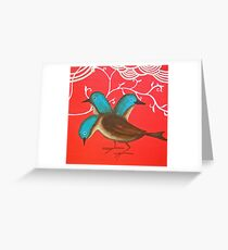 Blue birds in the Red Greeting Card